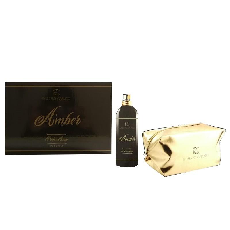 Cofanetto Capucci Amber Parfum Spray 100 mL + Pochette Oro